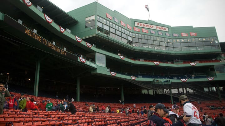 Fans arrive early for an Opening Day at Fenway Park
