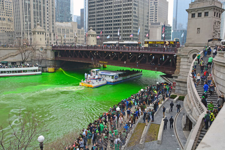 The St. Patrick's Day tradition of dying the river green in Chicago