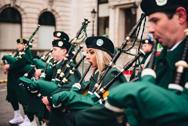 People playing bagpipes at St Patrick's Day parade