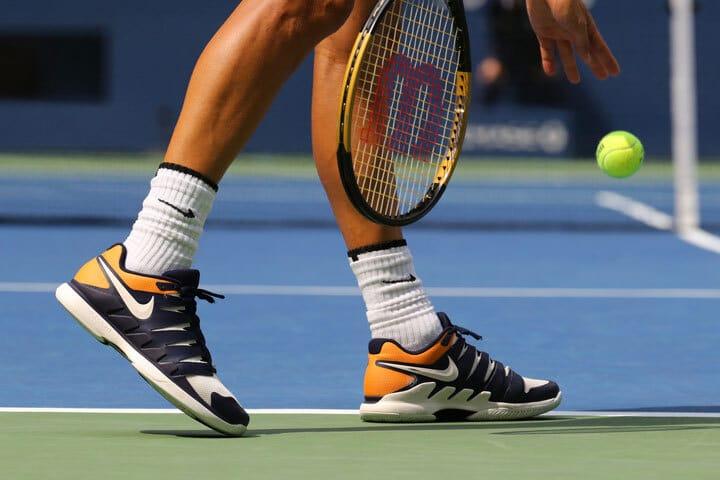 Tennis pro Grigor Dimitrov of Bulgaria wears custom Nikes