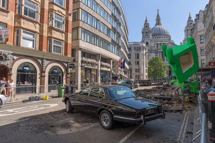 The set of the new Men In Black movie with Chris Hemsworth, filmed near St. Paul's Cathedral, London, to reproduce a car and black cab crash.